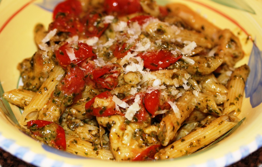 Pasta Pesto with Chicken & Grape Tomatoes